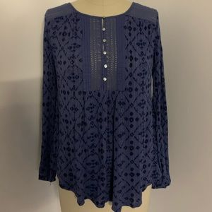 Lucky Brand Knit Floral Lace Top